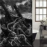 MitoVilla Antique Giant Octopus Shower Decorations, Hand Drawn Sea Monster Kraken Catched Ancient Sailboat Art Deco Shower Cu