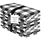 Dinner Napkins in Plaid Check Fabric-20x20 Black White,Wedding Napkins,100% Cotton Napkins,Cocktail Napkins,Cloth Napkins,Fab
