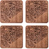 Singapore Map Coaster by O3 Design Studio, Set Of 4, Sapele Wooden Coaster With City Map, Handmade