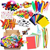 WATINC 1000Pcs DIY Art Craft Kit for Kids Creative Pompoms Pipe Cleaners Feather Foam Flowers Letters Crystal Sticker Felt Wi