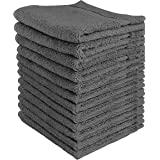 Utopia Towels Premium Washcloth Set (12 x 12 Inches, Grey) 600 GSM 100% Cotton Face Cloths, Highly Absorbent and Soft Feel Fi