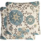Pack of 2 Mika Home Jacquard Circle Floral Throw Pillow Shell Vintage Cushion Cover for 20X20 Inserts Cream Blue