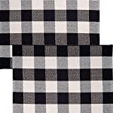 """Sierra Concepts 2-Pack Buffalo Plaid Check Rug Door Mat, 35"""" x 24"""" Cotton Black/White Indoor Outdoor Layered Front Porch Déco"""
