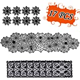 Halloween Table Decorations Set - Spider Web Table Runne Skull Placemats Spiderweb Cup Coasters- Desk Hallowmas Decor Party S
