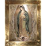 """Our Lady Of Guadalupe Body Portrait Gold Border Foil Engraved (8""""x10"""") - Religious Wall Art Print Poster"""