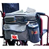 Wheelchair Side Pouch Bag(Double-Side) with Cup and Phone Holder for Manual, Electric or Power Mobility Scooter Full Armrest
