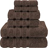American Soft Linen 6-Piece 100% Organic Turkish Cotton Premium & Luxury Towel Set for Bathroom & Kitchen, 2 Bath Towels, 2 H