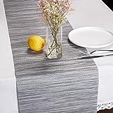 "DOLOPL Table Runner PVC Table Runners Gray Table Runner 12""×72"" Non-Slip Heat Resistant Easy to Clean Modern Farmhouse Table"