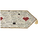 Tache Romantic I Love You Valentine's Beige Woven Table Runner - Vintage Tapestry Kitchen Dining Dinner Linens Cloth - 13 x 5