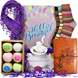 Birthday Gift Baskets for Women - Includes: Journal for Women, Ring Holders for Jewelry, Bubble Bath for Women, Warm Socks, a