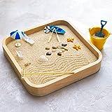 Kenley Mini Sandbox for Desk - Miniature Beach and Zen Garden - Sand Toys Play Kit for Kids, Adults, Office - Sand Box Gift S