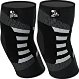 Elbow Compression Sleeves (1 Pair) - Support for Tendonitis Prevention & Recovery - 1 Year Warranty