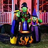 Joiedomi 6 FT Long Halloween Inflatable Three Witch Around Cauldron with Flame Light Inflatable Yard Decoration with Build-in