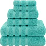 (Turquoise Blue) - Premium, Luxury Hotel & Spa, 6 Piece Towel Set, Turkish Towels 100% Cotton for Maximum Softness and Absorb