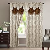 """Elegant Comfort Luxurious Beautiful Curtain Panel Set with Attached Valance 54"""" X 84 inch (Set of 2), Beige"""