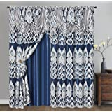 GOHD Peacock Pride. Clipped Voile/Voile Jacquard Window Curtain Panel Drape Attached Fancy Valance & Taffeta Backing. 2pcs Se