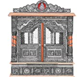 Home Pooja Wooden Mandir with Copper Oxidized Plated Puja Temple - Fully Assembled - 22 Inches with Doors