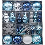 Valery Madelyn 80ct Winter Wished Christmas Ball Ornaments Blue Silver Decoration, Shatterproof Christmas Tree Ornaments Asso