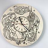 Rapunzel ラプンツェル木製掛け時計ー完璧で美しく作られたー現代アートで自宅を飾ろうー彼と彼女にユニークなギフトーサイズ12インチ(30 ㎝)
