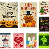 WATINC 8 Pack Seasonal Garden Flags for Happy Halloween Thanksgiving Welcome Fall Winter Merry Christmas New Year Holiday Dec