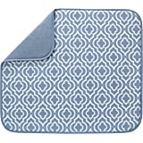 S&T INC. Absorbent, Reversible Microfiber Dish Drying Mat for Kitchen, 16 Inch x 18 Inch, Slate Trellis