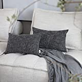Kevin Textile Faux Linen Square 2 Tone Woven Fine Throw Pillow Sham Cushion Case Covers for Car/Couch Use, 12x20 inch(2 Packs
