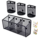 Awesome Office Supplies Magnetic Pencil Holder (4-pack) - Ultra Strong Magnet Wire Mesh Storage Basket Organizer Organizes Pe