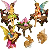 Mood Lab Fairy Garden - Miniature Figurines and Accessories Starter Kit - Fairy Garden Set of 12 pcs