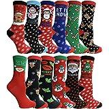 Christmas Printed Socks, Fun Colorful Festive, Crew, Knee High, Fuzzy, Or Slipper Sock by WSD