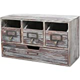 MyGift Rustic Brown Torched Wood Finish Desktop Office Organizer Drawers/Craft Supplies Storage Cabinet