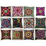 GANESHAM Indian Designer Home Decor Floral Cotton Pillow Case Bohemian Throw Pillow Cover Hand Embroidered Suzani Cushion Cov