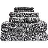Everplush Diamond Jacquard Bath Towel 6 Piece Value Pack Modern Grey