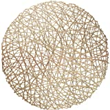 """"""" OCCASIONS"""" 10 Pieces Pack Round Pressed Vinyl Wedding Accent Metallic Placemats (Summer, Gold)"""