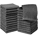Utopia Towels Cotton Washcloths, Cotton, Grey, Pack of 24