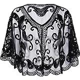 PrettyGuide Women's Evening Cape Bead Sequin Deco Paisley Vintage 1920s Shawl Flapper Cover up