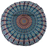 "32"" Mandala Barmeri Large Round Floor Pillow Cover Cushion Meditation Seating Ottoman Throw Cover,Round Floor Pillow Pouf Cas"