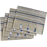 Nautical Cotton Placemats - Decorative Embroidered Lighthouse Design - Natural, Navy Blue and White - Set of 4