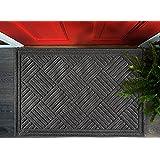 Volkom Heavy Duty Door Mat, Indoor Outdoor Durable Doormat, 35 x 23, Low-Profile, Waterproof Rubber Welcome Rug for Front Bac
