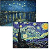 2 Pack - The Starry Night 1889 & Starry Night Over The Rhone by Vincent Van Gogh - Fine Art Poster Prints (Laminated, 18' X 2