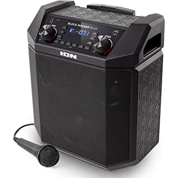 ION Audio Bluetooth対応 ポータブルPAスピーカー 低音強化機能搭載 50時間バッテリー マイク付き Block Rocker Plus