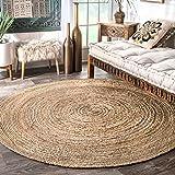 nuLOOM Rigo Hand Woven Jute Area Rug, 6' Round, Natural