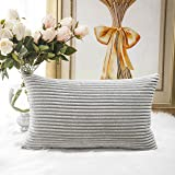 "HOME BRILLIANT Solid Decorative Accent Pillow Case Striped Corduroy Plush Velvet Cushion Cover for Sofa 12"" X 20"" Light Grey"