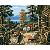 Paint by Numbers-DIY Digital Canvas Oil Painting Adults Kids Paint by Number Kits Home Decorations- Jungle Hut 16 * 20 inch