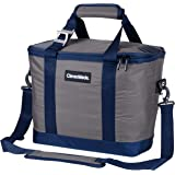 CleverMade SnapBasket 30 Can Soft-Sided Collapsible Cooler: 20 Liter Insulated Tote Bag with Shoulder Strap, Grey/Navy