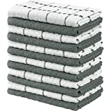 Utopia Towels Kitchen Towels, 15 x 25 Inches, 100% Ring Spun Cotton Super Soft and Absorbent Grey Dish Towels, Tea Towels and