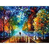 DIY Paint by Numbers for Adults - Autumn Raining Night Landscape w/Impressionist-Style Pastoral Scene | Pre-Printed Art-Quali