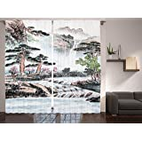 Ambesonne Pencil Drawing Decor Collection, Mountain and River Painting Effect Pine Trees Floral Design, Window Treatments, Li