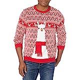 Blizzard Bay Men's Festive Llama Ugly Christmas Sweater, Red/White