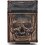 HOJ Co. SKULL Front Pocket Wallet-Strong Magnetic Closure-Slim Money Clip Wallet