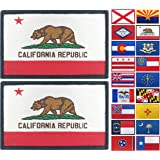 JBCD 2 Pack California Flag Patch States Flags Tactical Patch Pride Flag Patch for Clothes Hat Patch Team Military Patch